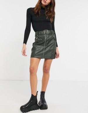 Короткая юбка из искусственной кожи оливкового цвета на молнии Topshop-Зеленый цвет
