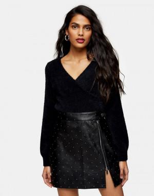 Черная мини-юбка из искусственной кожи сзастежкой на кнопку Topshop-Черный цвет