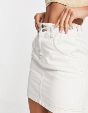 Белая джинсовая юбка с присборенной талией Topshop-Белый