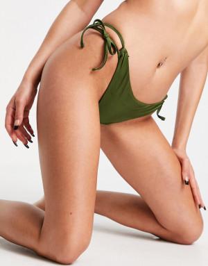 Блестящие трусы бикини с завязками по бокам цвета хаки Topshop-Зеленый цвет
