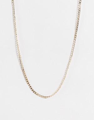 Золотистое тонкое ожерелье-цепочка с плоскими крупными звеньями Topshop-Золотистый