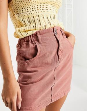 Терракотовая юбка из денима с присборенной талией Topshop-Оранжевый цвет