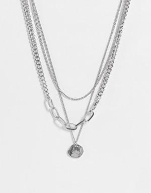 Серебристое ожерелье в несколько рядов с круглой подвеской Topshop-Серебристый