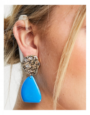Золотистые серьги-подвески с голубым камнем Topshop-Золотистый