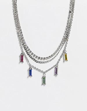 Серебристое ярусное ожерелье-чокер с радужными кристаллами Topshop-Серебристый