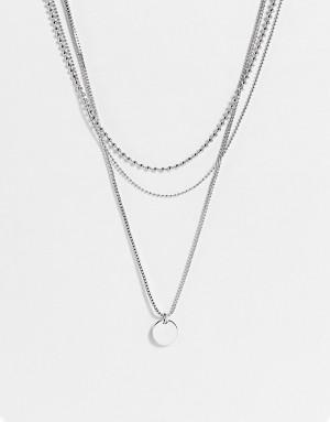 Серебристое ярусное ожерелье из цепочек и круглых пластинок Topshop-Серебристый