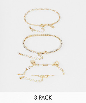 Набор из 3 золотистых браслетов-цепочек с подвесками Topshop-Золотистый