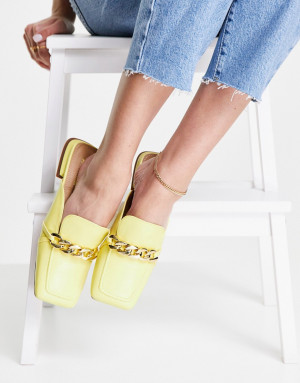 Лоферы лимонного цвета с декоративной цепочкой Topshop Lamara-Желтый