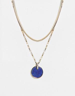 Золотистое ярусное ожерелье с подвеской в виде синего камня Topshop-Золотистый