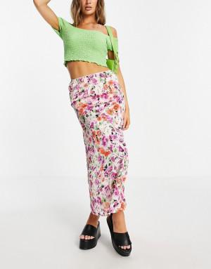 Атласная юбка косого кроя с цветочным принтом Topshop-Разноцветный