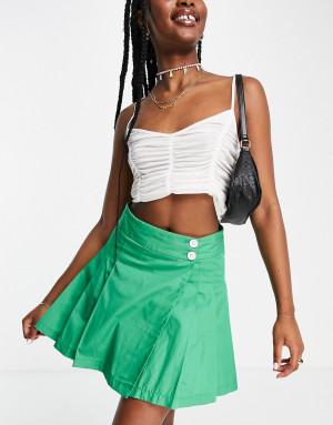 Зеленая однотонная теннисная юбка Topshop-Зеленый цвет