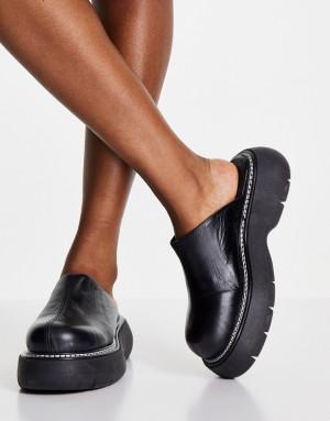 Черные кожаные мюли на массивной подошве Topshop Lana-Черный цвет