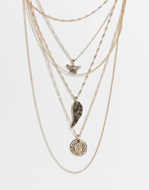 Золотистое многоярусное ожерелье с подвесками Topshop-Золотистый