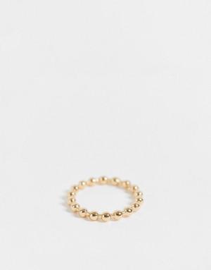 Золотистое кольцо с дизайном в виде бусин Topshop-Золотистый