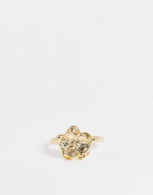 Золотистое кольцо с цветком Topshop-Золотистый