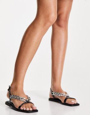 Черные сандалии с цепочками Topshop Penny-Черный цвет