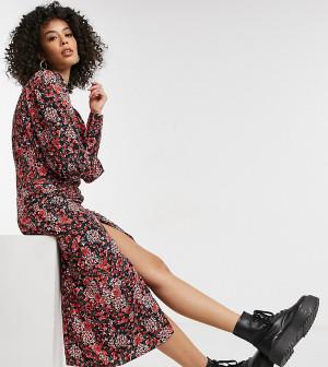 Присборенное спереди платье миди с цветочным принтом Topshop Tall-Многоцветный