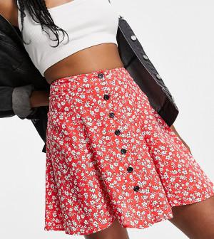 Свободная юбка красного цвета с цветочным принтом и застежкой на пуговицах Topshop Tall-Красный