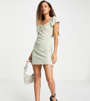 Шалфейно-зеленое трикотажное платье с расклешенной юбкой Topshop Petite-Зеленый цвет