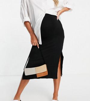 Черная юбка в рубчик с двумя разрезами Topshop Maternity-Черный цвет
