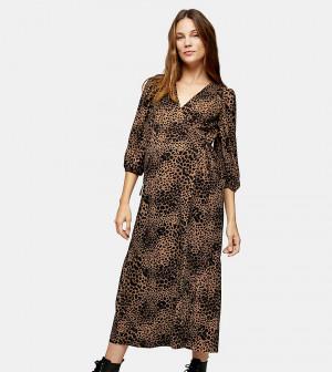 Коричневое платье с запахом-кимоно и звериным принтом Topshop Maternity-Коричневый