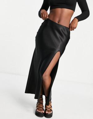 Черная атласная юбка с высоким разрезом (от комплекта) Topshop-Черный цвет