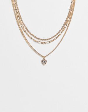 Золотистое ожерелье в несколько рядов с подвеской-кристаллом в форме сердца Topshop-Золотистый