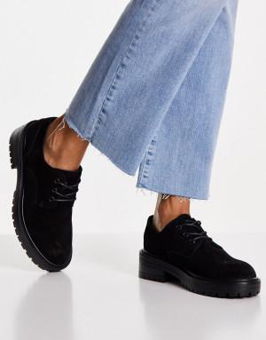 Черные замшевые туфли на шнуровке Topshop Leon-Черный цвет