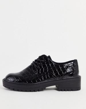 Черные туфли на шнуровке с эффектом крокодиловой кожи Topshop Leon-Черный цвет