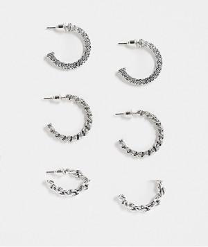 Набор из 3 пар серебристых серег-колец с разной перекрученной отделкой Topshop-Серебряный