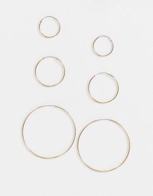 Набор из 3 парзолотистыхсерег-колец Topshop-Золотистый